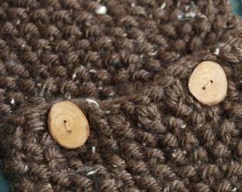 Brown Chunky Handknit Cowl