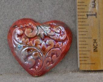 Handmade Raku  Heart Pendant Bead