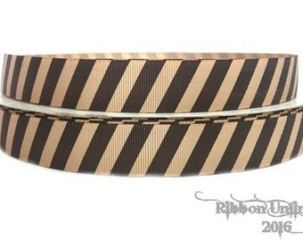 10 yds WHOLESALE 7/8 Inch TaN WiTH BRoWN DiAGONAL Stripes grosgrain ribbon LOW SHIPPING Cost