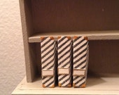 Dollhouse size magazine holders black and white stripe with gold 1/12 scale