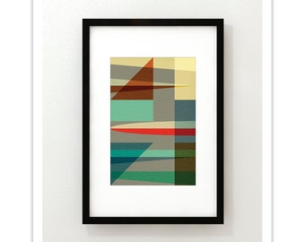 SAIL no.2 - Giclee Print - Mid Century Modern Danish Modern Abstract Geometric Art Eames Style