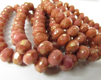 10 Czech Glass Coral Pink Peach 22k Gold Picasso Finish 8mm x 6mm faceted Rondelle jewelry beads