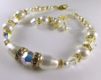 White Swarovski Pearls, Clear Crystal AB Crystals Adjustable Bracelet