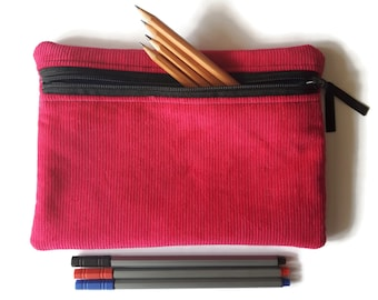 Pencil case / zipper pouch /cosmetic bag Pink corduroy and turquoise