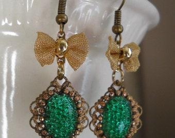 SALE Vintage Deco earrings emerald green reflector bubble glass assemblage earring mesh bow brass finish