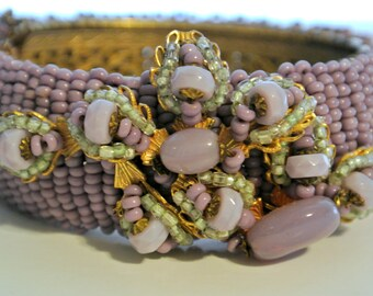 Vintage Miriam Haskell Lavender Beaded Cuff Bracelet And Matching Earrings