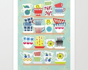 Scandinavian cups collection, poster