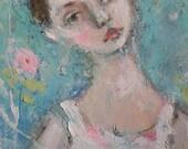 original floral ballerina portrait painting  k d milstein fadedwest
