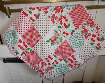 Cute Christmas table top quilt, wall hanging, basket quilt, Christmas decor, fabric and vintage chenille, photography prop, farmhouse decor