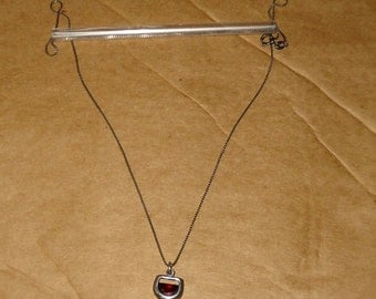 Sterling Silver - Red Wine Glass Pendant Necklace