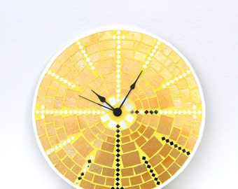 Mosaic Wall Clock Large Glass Mosaic Yellow Wall Art, Made To Order, Mosaic Home Decor, Housewarming Gift Unique, Easter Decor Decoration