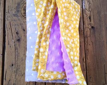 MUSTARD yellow floral baby/toddler blanket