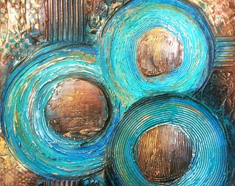 TEXTURED Abstract Painting Original 30x30 Acrylic on Canvas. Earth Tones, Teal & Brown Fine Art by Maria Farias