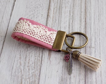 Boho key fob pink with lace flower and feather charms,  boho key chain with charms, mini key fob, fabric key chain