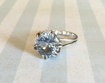 Vintage Silver Ring With Blue Crystal Stone