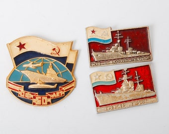 Set of 3 vintage metal  pins, Russian Warships. Badges from USSR, Soviet Union.