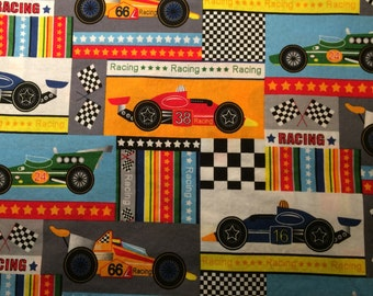 Fabric By the 1 yard Race Cars Boy Hot Rod Print Destash 100% Cotton Quilt Eustheelf 95