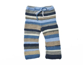 Childrens baby toddler girls boys hand knitted pants trousers, Multicolor Stripes Blue Yellow beige grey 0-3-6-9-12-18-24 months 2-3-4-5 T