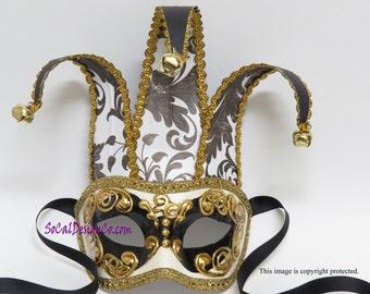 Joker Mask, Jester Mask, Masquerade Mask, Venetian Mask, Mask for Men, Jester Masquerade, Mardi Gras, Mask for Man, Theater Mask, Party Mask