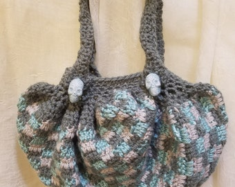 Gray and mint/teal crocheted bag purse