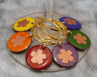 Enameled Wine Charms - Custom Patterns - Made to Order