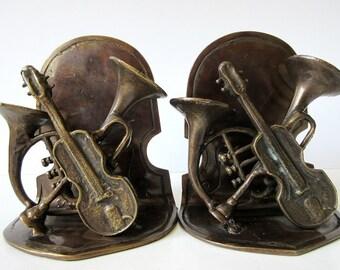 Music Instrument Bookends Vintage Andrea by Sadek