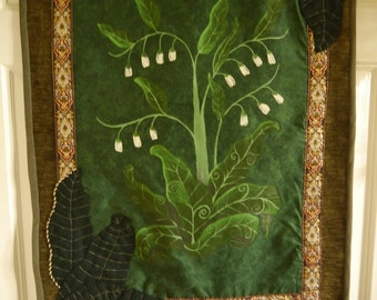 Ancient Herbs - Comfrey Wallhanging OOAK hand painted and adorned mixed media wall hanging