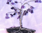 Wire Wrapped Amethyst Tree Sculpture with Snowflake Obsidian Base
