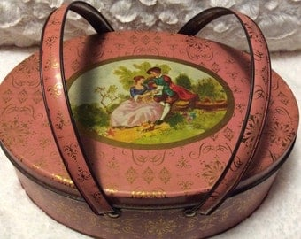 25% SALE Vintage Pink Romantic Lunch Box or Sewing Tin Handles Oval 1950s