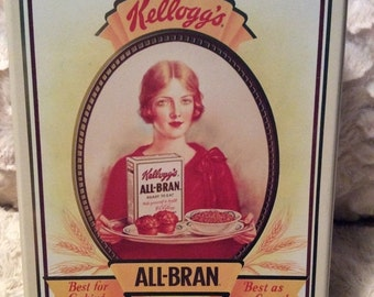 20% SALE Vintage Kellogg's All Bran Cereal Tin Container Americana Advertising