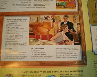 Vintage Mid Century Southern Comfort Bar Poster - 46 Great Drinks & Toasts