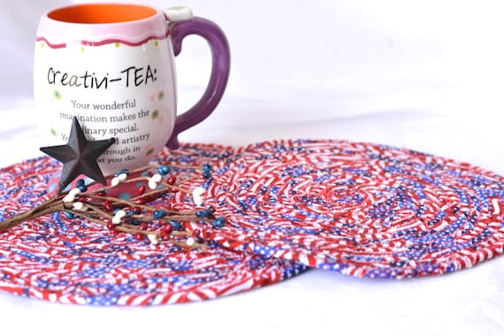 4th of July Trivets, 2 Patriotic Mug Rugs, Handmade Quilted Trivet Set of 2,  Father's Day Decoration, Stars and Stripes Table Topper
