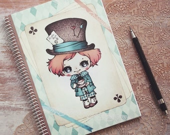Alice in Wonderland - The Mad Hatter - notebook - made to order