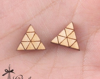 4Pcs DIY Laser Cut Wood Cute Geometric Triangle Charms / Pendants  (WP-C-2)
