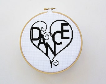 Dance Heart Cross Stitch Pattern - PDF File, X Stitch Pattern, Easy Cross Stitch Pattern