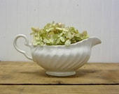 Vintage White English Ironstone China Gravy Boat Bowl