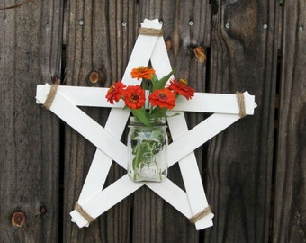 Handmade Rustic White Wood Star Mason Jar Wall Vase