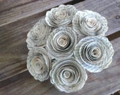 "7 Harry Potter 2"" spiral recycled book page rolled roses alternative bouquet wedding toss centerpieces"