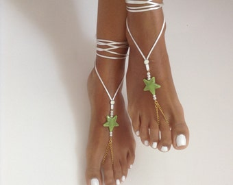white, green, Barefoot Sandals, wedding , Bikini , Women , Beach , Bridal Shoes , Bridal Sandals , Bridal Jewelry ,shoes , READY TO SHIP