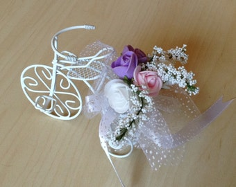wedding accessory 10xSET White Bicycle Wedding Favor Bike lilac and white roses customized design