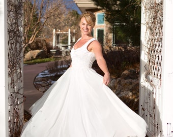 Lace Chiffon Wedding Dress with Heart back - Custom size