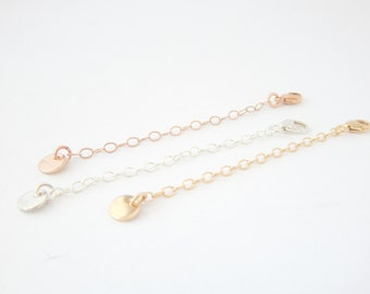 "2"" Necklace Chain Extender - Sterling Silver, 14k Gold, 14k Rose Gold, Extra Chain, Necklace Add On, Necklace Lengthen"