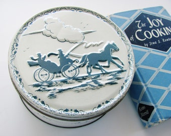 Vintage Cookie Cake Tin 1950s Blue And White EmbossedChristmas Candy Fruitcake Container Canister