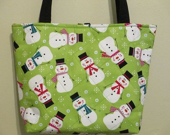Snowman Purse/Tote, quilted, lime green