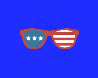 Patriotic Sunglasses Independence Day Fourth of July SVG Cutting File