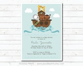 Noah's Ark Invitation, Printable Baby Shower Invitation, Noahs Ark Baby Shower, Animal Birthday Party Invitation, Noahs Ark Birthday, Jungle