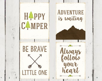 4 Camping and Adventure themed prints- Instant Download