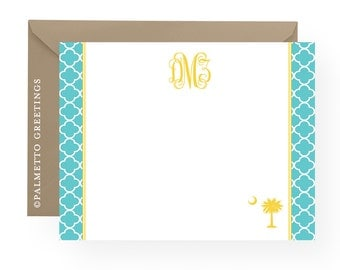 PRINTED - Set of 8 Monogram Notecards with South Carolina Palmetto Moon and Quatrefoil Pattern Custom South Carolina Stationery - Any Color