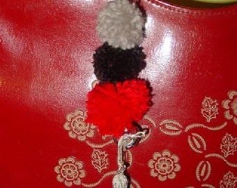 Tassel, Pom Poms, and Bell Purse/Backpack Charm or Keychain