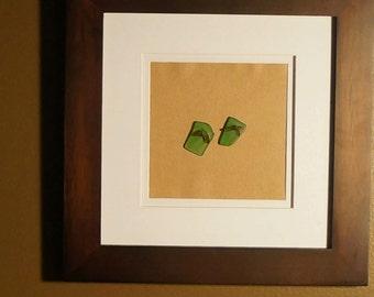 Beach Glass Art - Flip Flops - Green